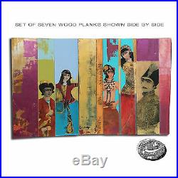 Modern Qajar Series- Group of 7 Painted Wood Planks Shiva Pakdel