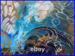 Moderne Strukturgemälde Öl Acryl Gemälde MAGIC SKY Bild von Bozena Ossowski