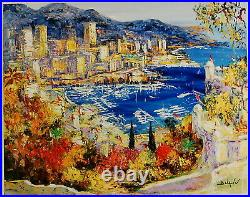 Monaco Vue De Palais by Duaiv (Fine Art Mixed Media on Canvas Contemporary)