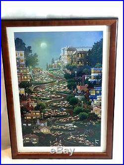 Moon Over Lombard St Lithograph Framed San Francisco 80/2250 Alexander Chen