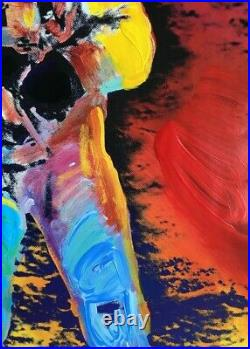 Moonwalk, Mixed Media Painting, Peter Max SIGNED with COA