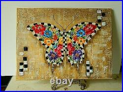 My Hand Painted FLOWER BUTTERFLY Mixed Media Mackenzie Childs inspired by O. D