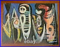 NYC George Jay Rogers Modernist Abstract Surrealism Acrylic Painting Paper 1956