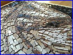Naked body contemporary mosaic art Roman ceramic tiles shadows light woman