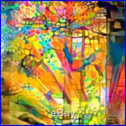 Nik Tod Original Painting Large Rare Art Texture Splash Color Tree With Sun Rays