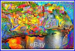 Nik Tod Original Painting Large Sign Art Modern Contemporary Cinque Terre Italy