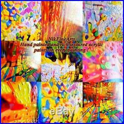 Nik Tod Original Painting Large Signed Art Amazing Colorful Amazing The Old Tree