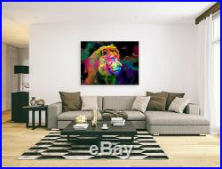 Nik Tod Original Painting Large Signed Art Amazing Colorful Modern Head Of Lion
