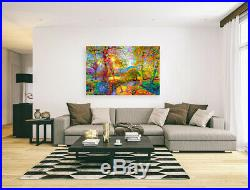 Nik Tod Original Painting Large Signed Art Amazing Colorful Sun Rays In The Park