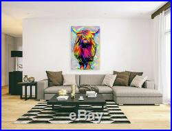 Nik Tod Original Painting Large Signed Art Colored Textured Funny Highland Cow