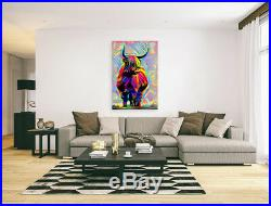 Nik Tod Original Painting Large Signed Art Colored Textured Funny Highland Cow 2