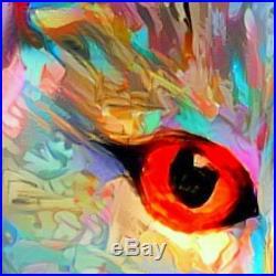 Nik Tod Original Painting Large Signed Art Colorful Textured Amazing Cat Eyes Uk