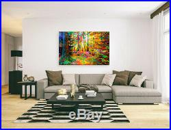 Nik Tod Original Painting Large Signed Art Rare Gift Sun Rays In The Forest 3 Uk
