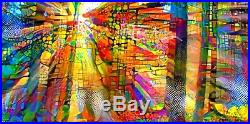 Nik Tod Original Painting Large Signed Art Stunning Sun Rays With Colorful Trees