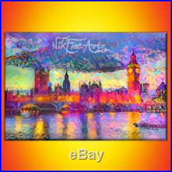 Nik Tod Original Painting Large Signed Art Texture Colored Palace Of Westminster