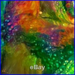 Nik Tod Original Painting Large Signed Art Textured Colorful Rare Yawning Monkey