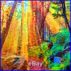 Nik Tod Original Painting Large Signed Art Textured Colorful Sun Rays In Forest