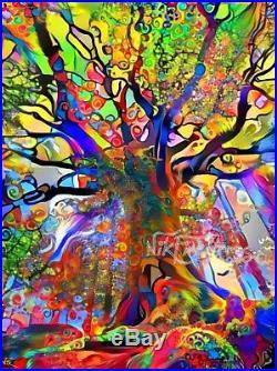Nik Tod Original Painting Large Signed Art Textured Colors Colorful Jungle Tree