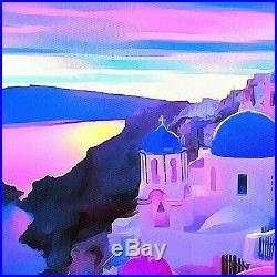 Nik Tod Original Painting Large Signed Art Textured Sunset In Santorini Greece