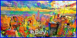 Nik Tod Original Painting Large Signed Collectors Art New York Colored Cityscape