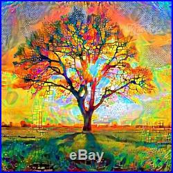 Nik Tod Original Painting Large Signed Rare Art Amazing Tree Of Life In Sunrise