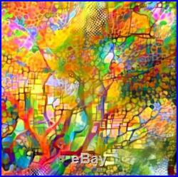 Nik Tod Original Painting Large Signed Rare Art Wall Deco Colorful Amazing Tree