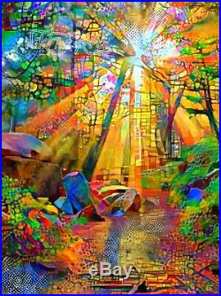 Nik Tod Original Painting Signed Art Textured Gorgeous Sun Rays In The Forest Uk