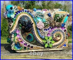 OOAK Artisan Unique Collage Mosaic Rhinestones/Bead VTG Jewel Encrusted Planter
