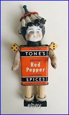 OOAK Steampunk Assemblage ART DOLL Vintage Mix Media Antique China Head Pepper