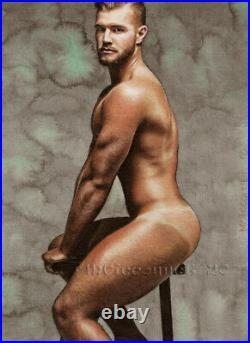 ORIGINAL Artwork Male Drawing Painting Gay Interest MCicconneT CHAIRMAN