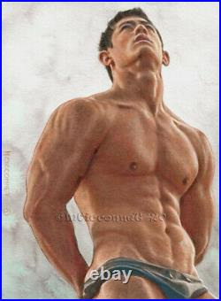 ORIGINAL Artwork Male Drawing Painting Gay Interest MCicconneT CONNECTED DOTS