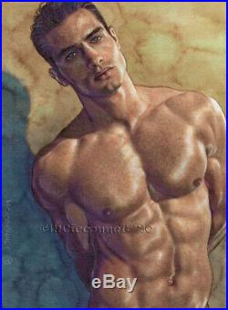 ORIGINAL Artwork Male Drawing Painting Gay Interest MCicconneT DARKER ILLUSION