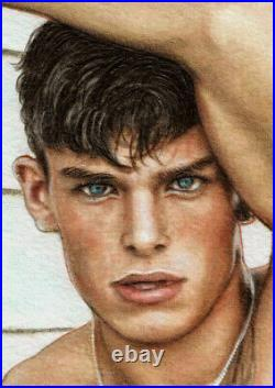 ORIGINAL Artwork Male Drawing Painting Gay Interest MCicconneT GOING BACK
