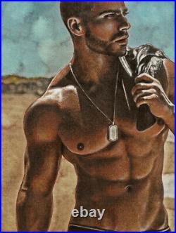 ORIGINAL Artwork Male Drawing Painting Gay Interest MCicconneT GRANDER