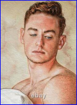 ORIGINAL Artwork Male Drawing Painting Gay Interest MCicconneT LESS SIGNIFICANT