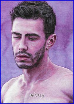 ORIGINAL Artwork Male Drawing Painting Gay Interest MCicconneT ONLY TIME