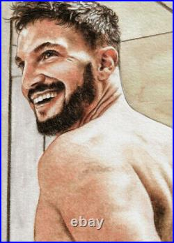 ORIGINAL Artwork Male Drawing Painting Gay Interest MCicconneT PAST CHANCE