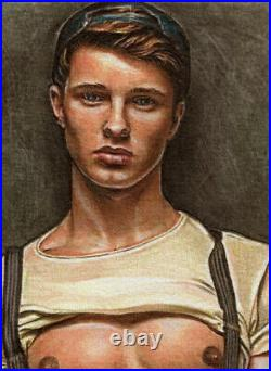 ORIGINAL Artwork Male Drawing Painting Gay Interest MCicconneT PROPOSAL