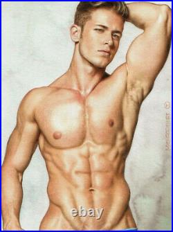 ORIGINAL Artwork Male Drawing Painting Gay Interest MCicconneT REMEMBERED