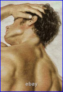 ORIGINAL Artwork Male Drawing Painting Gay Interest MCicconneT SECOND GLIMPSE