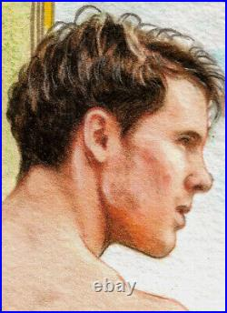 ORIGINAL Artwork Male Drawing Painting Gay Interest MCicconneT SECOND WAVE