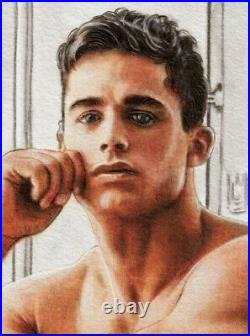 ORIGINAL Artwork Male Drawing Painting Gay Interest MCicconneT SUMMER CHILL