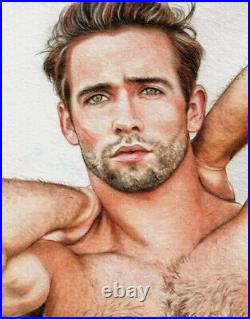 ORIGINAL Artwork Male Drawing Painting Gay Interest MCicconneT UNJUSTIFIED