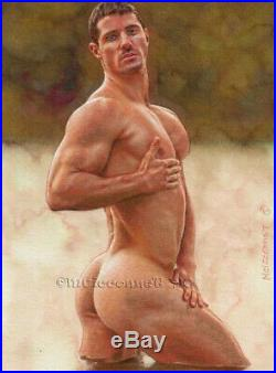 ORIGINAL Artwork Male Nude Drawing Painting Gay Interest MCicconneT BRIGHT NOTE
