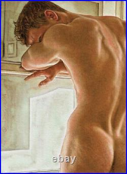 ORIGINAL Artwork Male Nude Drawing Painting Gay Interest MCicconneT LONE