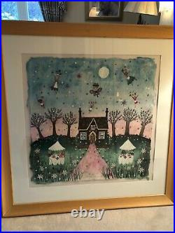 ORIGINAL FRAMED WATERCOLOUR COLLAGE OF'THE MAGIC CAKE SHOP' BY Lucy Loveheart
