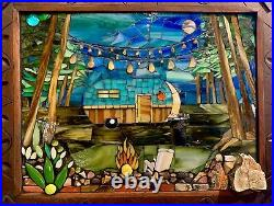 Old Camper In Woods Under Night Sky With Campfire Original Mosaic Art