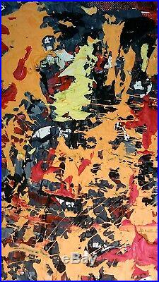 Original Abstract Expressionism Painting Modern Art Mixed Media Signed Artwork