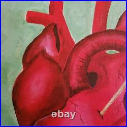 Original Acrylic mixed media Painting El Corazon Mexican Loteria card the heart