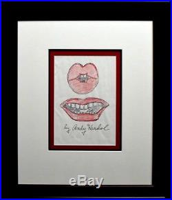 Original Andy Warhol Drawing Lips Circa 1960 Mixed Media On Paper